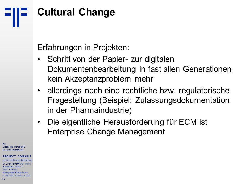 132 EIM Update und Trends 2010 Dr. Ulrich Kampffmeyer PROJECT CONSULT Unternehmensberatung Dr. Ulrich Kampffmeyer GmbH Breitenfelder Straße 17 20251 H