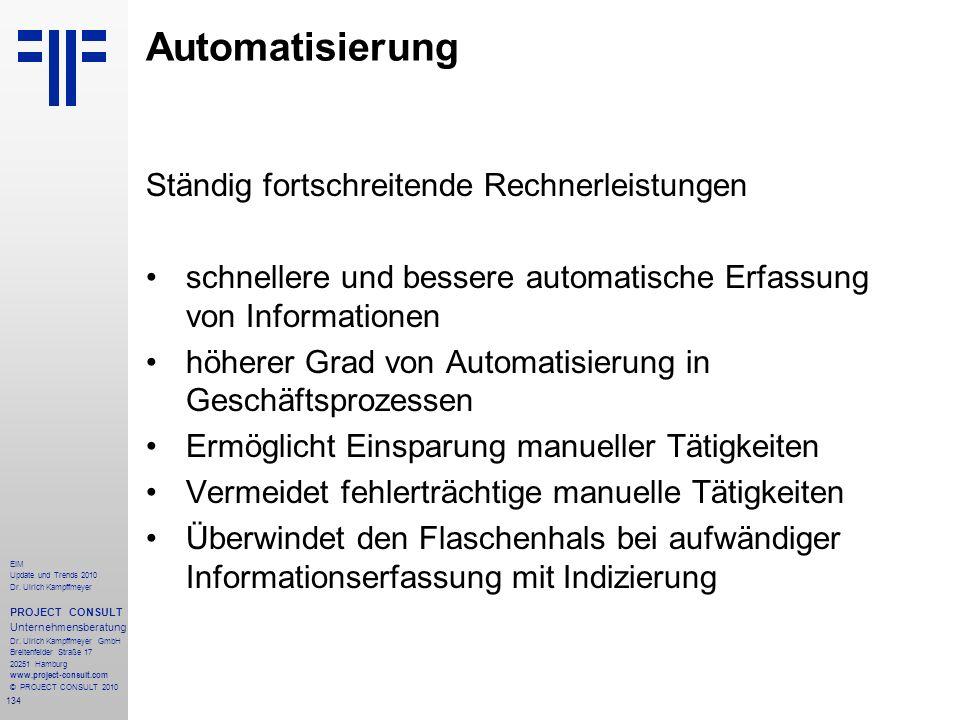 134 EIM Update und Trends 2010 Dr. Ulrich Kampffmeyer PROJECT CONSULT Unternehmensberatung Dr. Ulrich Kampffmeyer GmbH Breitenfelder Straße 17 20251 H