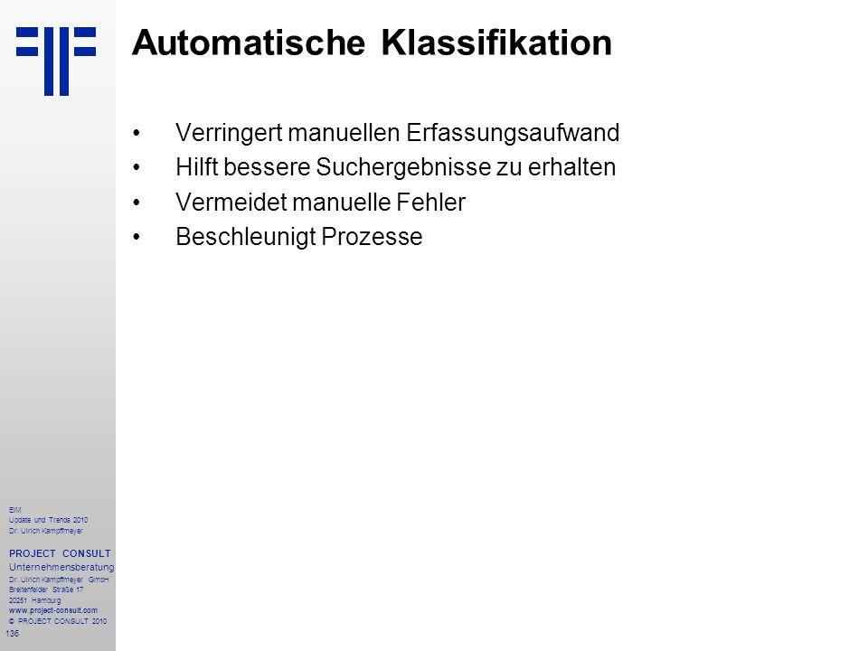 136 EIM Update und Trends 2010 Dr. Ulrich Kampffmeyer PROJECT CONSULT Unternehmensberatung Dr. Ulrich Kampffmeyer GmbH Breitenfelder Straße 17 20251 H