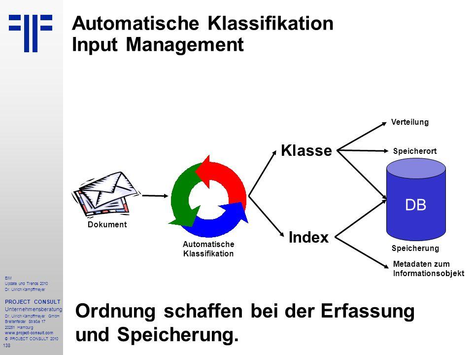 138 EIM Update und Trends 2010 Dr. Ulrich Kampffmeyer PROJECT CONSULT Unternehmensberatung Dr. Ulrich Kampffmeyer GmbH Breitenfelder Straße 17 20251 H