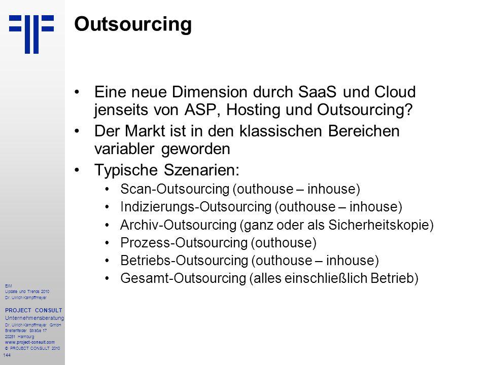 144 EIM Update und Trends 2010 Dr. Ulrich Kampffmeyer PROJECT CONSULT Unternehmensberatung Dr. Ulrich Kampffmeyer GmbH Breitenfelder Straße 17 20251 H