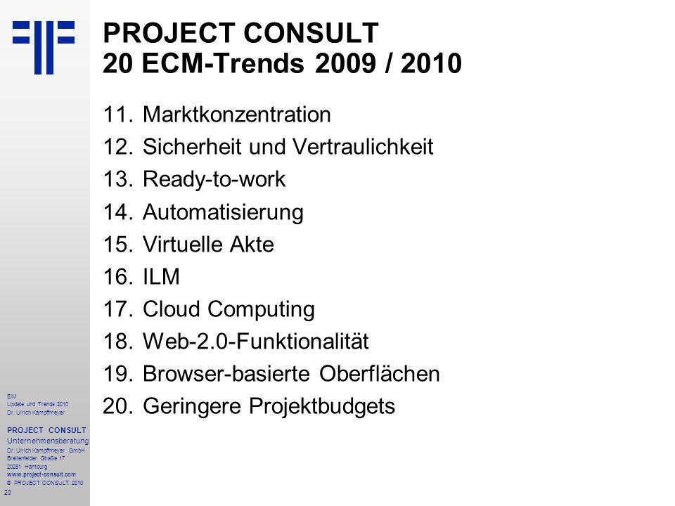 20 EIM Update und Trends 2010 Dr. Ulrich Kampffmeyer PROJECT CONSULT Unternehmensberatung Dr. Ulrich Kampffmeyer GmbH Breitenfelder Straße 17 20251 Ha