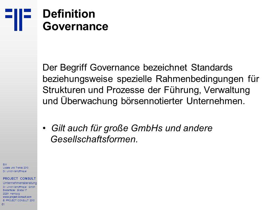 61 EIM Update und Trends 2010 Dr. Ulrich Kampffmeyer PROJECT CONSULT Unternehmensberatung Dr. Ulrich Kampffmeyer GmbH Breitenfelder Straße 17 20251 Ha