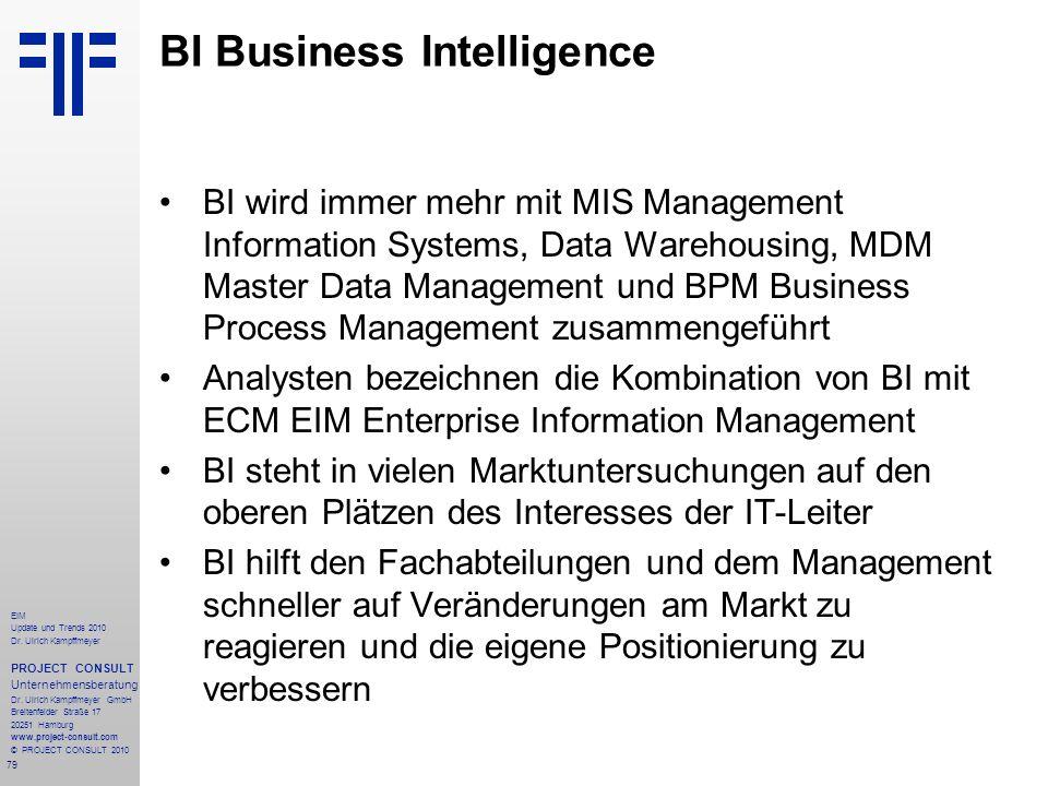 79 EIM Update und Trends 2010 Dr. Ulrich Kampffmeyer PROJECT CONSULT Unternehmensberatung Dr. Ulrich Kampffmeyer GmbH Breitenfelder Straße 17 20251 Ha