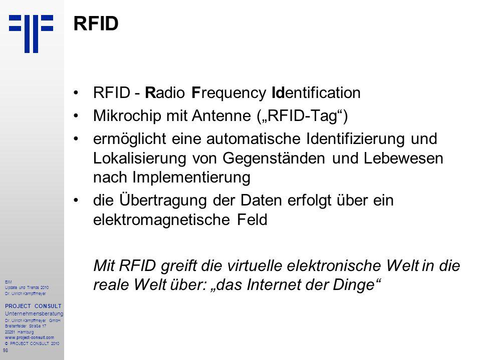 98 EIM Update und Trends 2010 Dr. Ulrich Kampffmeyer PROJECT CONSULT Unternehmensberatung Dr. Ulrich Kampffmeyer GmbH Breitenfelder Straße 17 20251 Ha