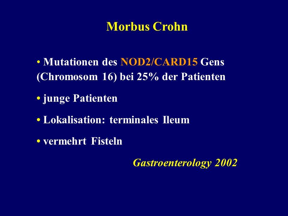 Morbus Crohn Mutationen des NOD2/CARD15 Gens (Chromosom 16) bei 25% der Patienten junge Patienten Lokalisation: terminales Ileum vermehrt Fisteln Gastroenterology 2002