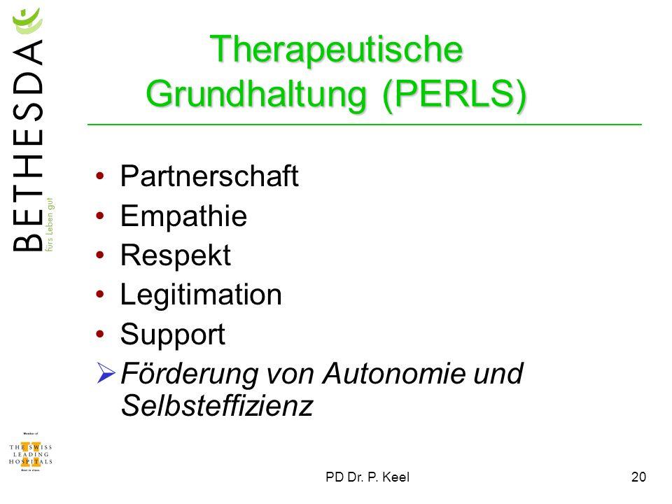 PD Dr. P. Keel20 Therapeutische Grundhaltung (PERLS) Partnerschaft Empathie Respekt Legitimation Support Förderung von Autonomie und Selbsteffizienz