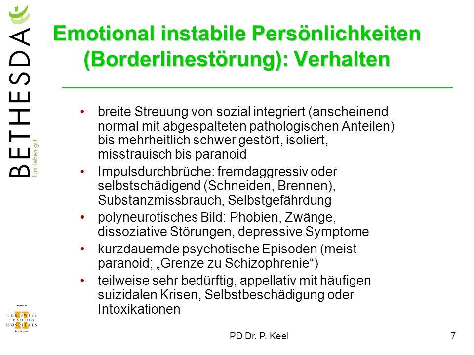 PD Dr. P. Keel7 Emotional instabile Persönlichkeiten (Borderlinestörung): Verhalten breite Streuung von sozial integriert (anscheinend normal mit abge