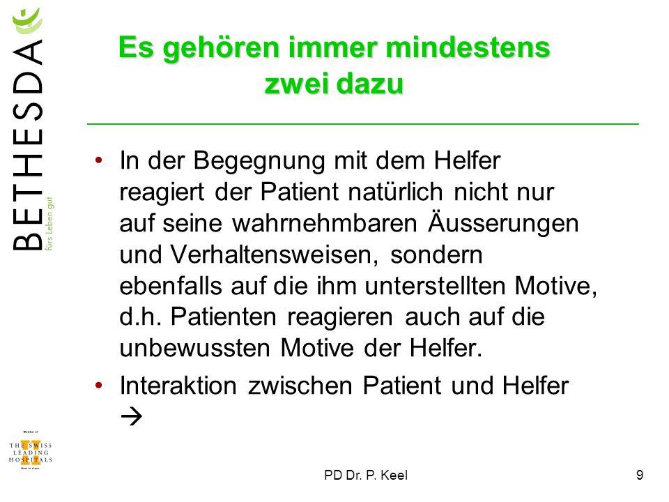 9 Es gehören immer mindestens zwei dazu In der Begegnung mit dem Helfer reagiert der Patient natürlich nicht nur auf seine wahrnehmbaren Äusserungen u