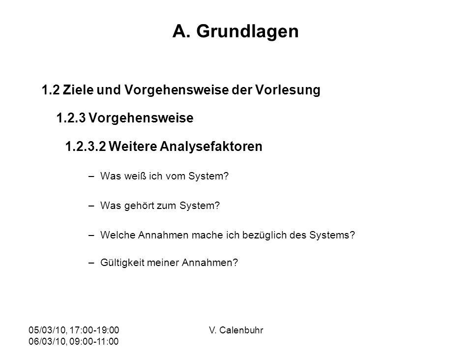 05/03/10, 17:00-19:00 06/03/10, 09:00-11:00 V. Calenbuhr A. Grundlagen 1.2 Ziele und Vorgehensweise der Vorlesung 1.2.3 Vorgehensweise 1.2.3.2 Weitere
