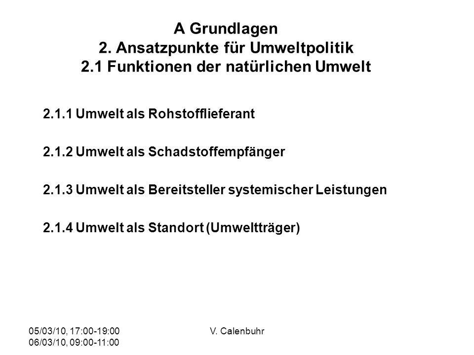 05/03/10, 17:00-19:00 06/03/10, 09:00-11:00 V. Calenbuhr A Grundlagen 2. Ansatzpunkte für Umweltpolitik 2.1 Funktionen der natürlichen Umwelt 2.1.1 Um