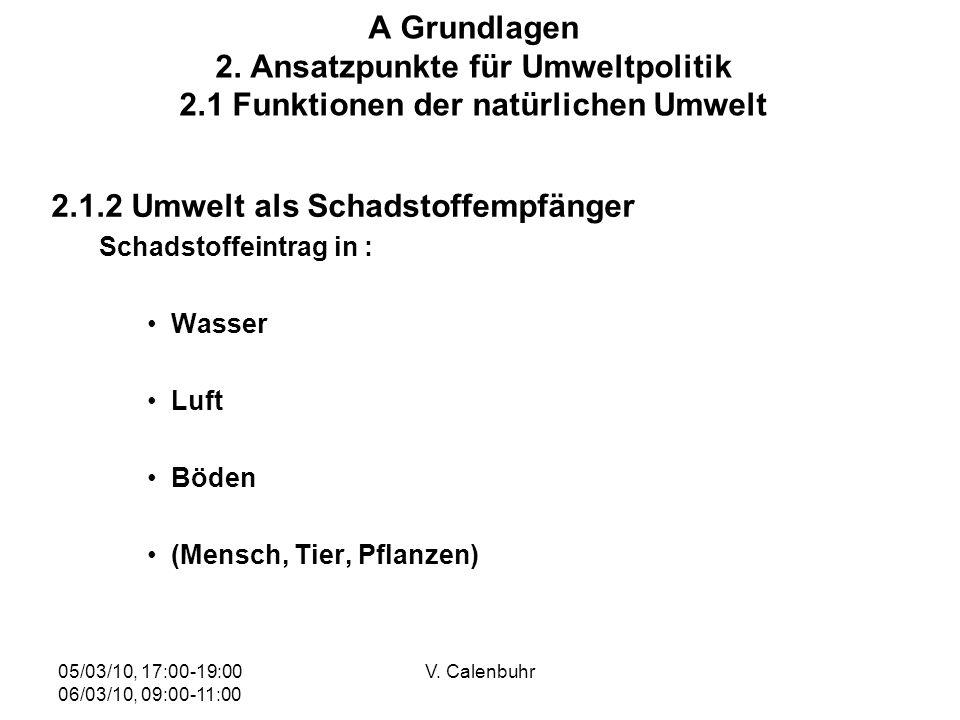 05/03/10, 17:00-19:00 06/03/10, 09:00-11:00 V. Calenbuhr A Grundlagen 2. Ansatzpunkte für Umweltpolitik 2.1 Funktionen der natürlichen Umwelt 2.1.2 Um