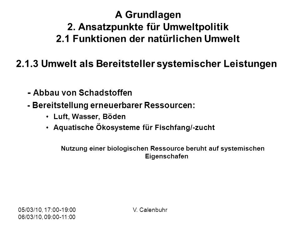 05/03/10, 17:00-19:00 06/03/10, 09:00-11:00 V. Calenbuhr A Grundlagen 2. Ansatzpunkte für Umweltpolitik 2.1 Funktionen der natürlichen Umwelt 2.1.3 Um