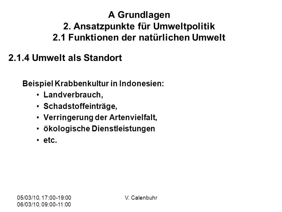 05/03/10, 17:00-19:00 06/03/10, 09:00-11:00 V. Calenbuhr A Grundlagen 2. Ansatzpunkte für Umweltpolitik 2.1 Funktionen der natürlichen Umwelt 2.1.4 Um
