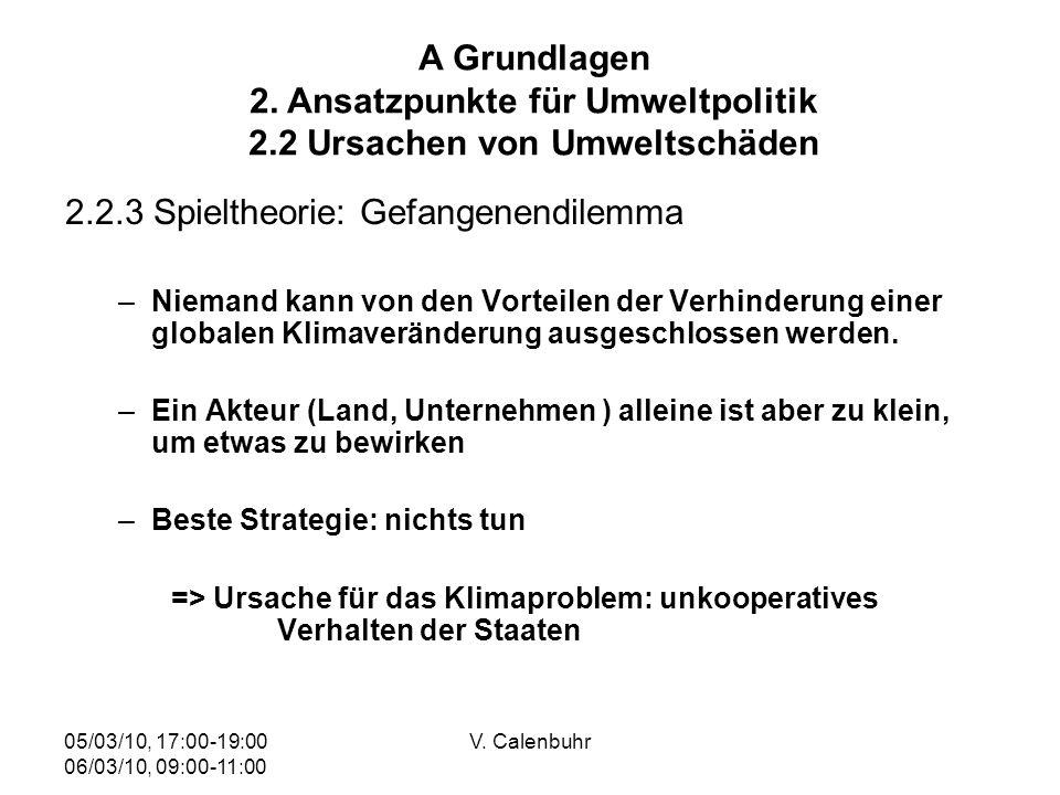 05/03/10, 17:00-19:00 06/03/10, 09:00-11:00 V. Calenbuhr 2.2.3 Spieltheorie: Gefangenendilemma –Niemand kann von den Vorteilen der Verhinderung einer