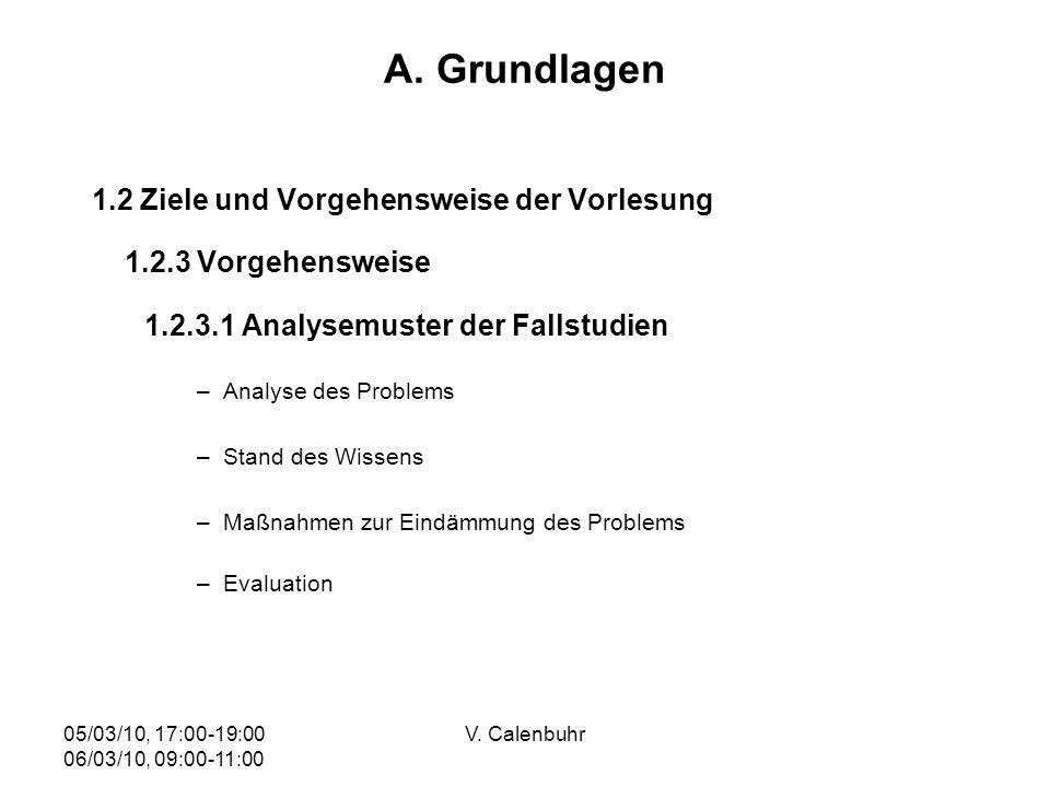 05/03/10, 17:00-19:00 06/03/10, 09:00-11:00 V. Calenbuhr A. Grundlagen 1.2 Ziele und Vorgehensweise der Vorlesung 1.2.3 Vorgehensweise 1.2.3.1 Analyse