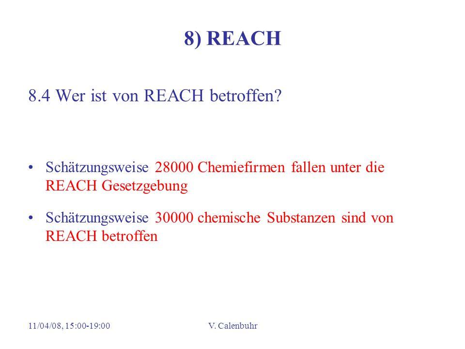 11/04/08, 15:00-19:00V. Calenbuhr 8) REACH 8.4 Wer ist von REACH betroffen.
