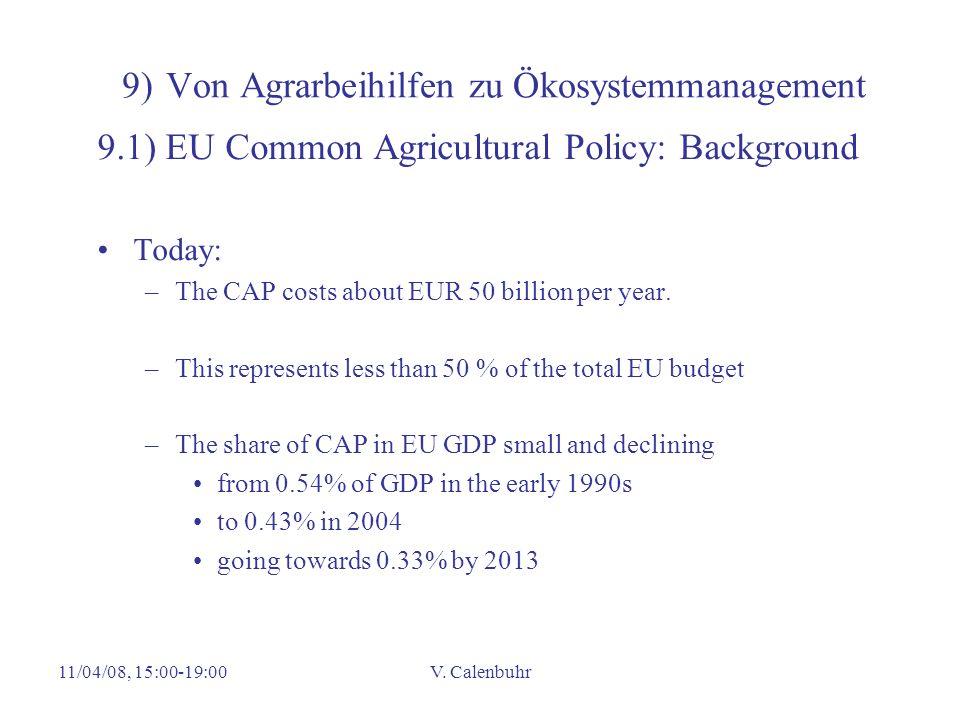 11/04/08, 15:00-19:00V. Calenbuhr 9) Von Agrarbeihilfen zu Ökosystemmanagement 9.1) EU Common Agricultural Policy: Background Today: –The CAP costs ab