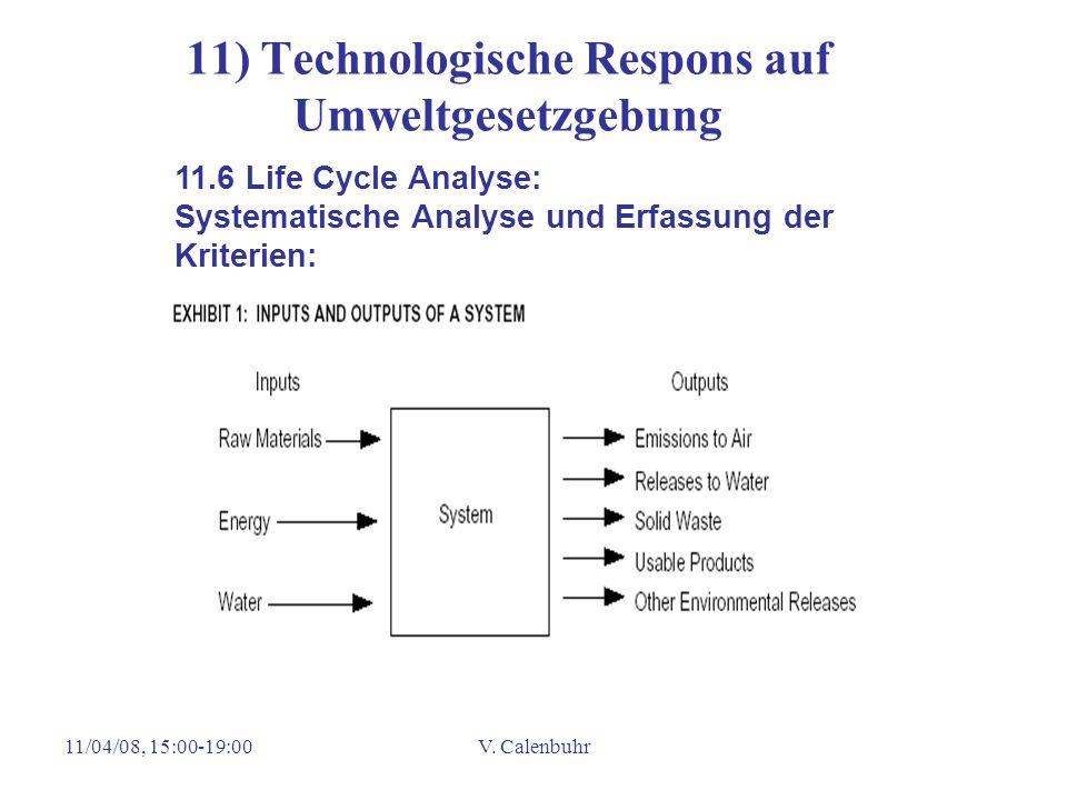 11/04/08, 15:00-19:00V. Calenbuhr 11) Technologische Respons auf Umweltgesetzgebung 11.6 Life Cycle Analyse: Systematische Analyse und Erfassung der K