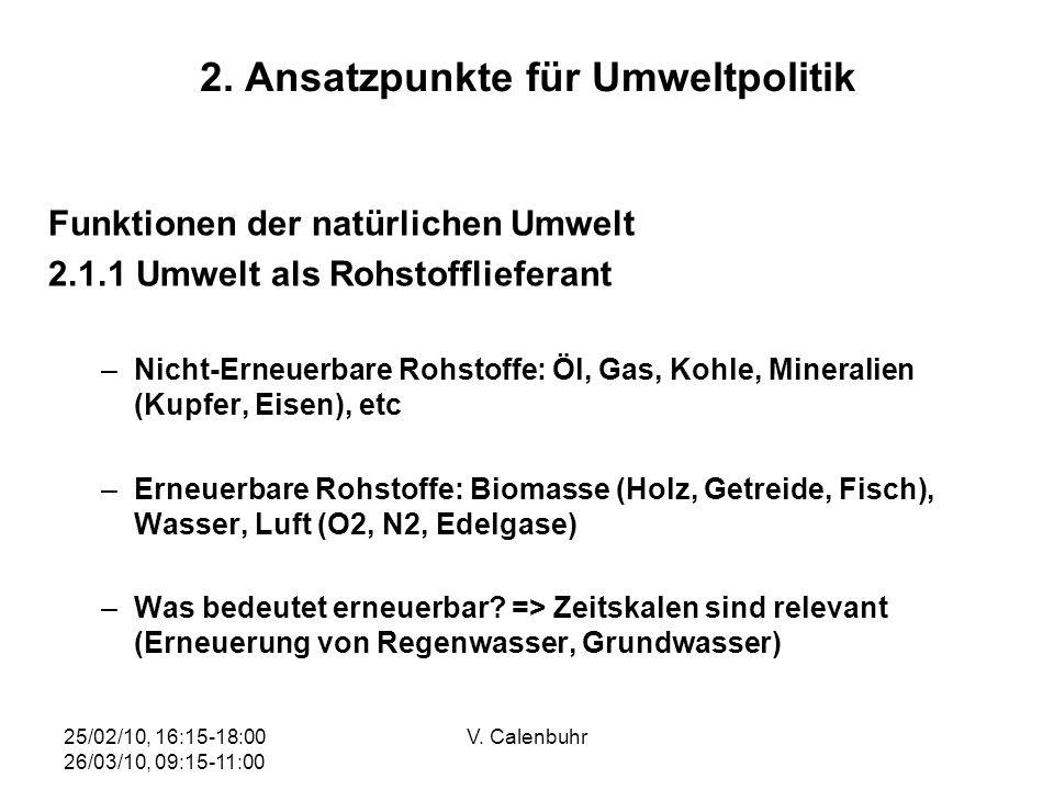 25/02/10, 16:15-18:00 26/03/10, 09:15-11:00 V. Calenbuhr 2. Ansatzpunkte für Umweltpolitik Funktionen der natürlichen Umwelt 2.1.1 Umwelt als Rohstoff