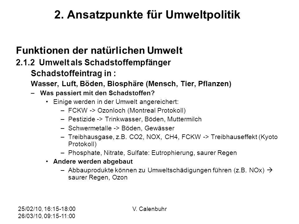 25/02/10, 16:15-18:00 26/03/10, 09:15-11:00 V. Calenbuhr 2. Ansatzpunkte für Umweltpolitik Funktionen der natürlichen Umwelt 2.1.2 Umwelt als Schadsto