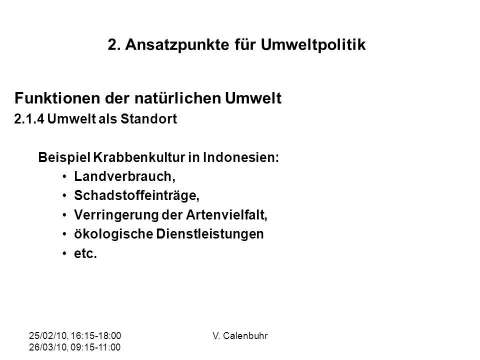 25/02/10, 16:15-18:00 26/03/10, 09:15-11:00 V. Calenbuhr 2. Ansatzpunkte für Umweltpolitik Funktionen der natürlichen Umwelt 2.1.4 Umwelt als Standort