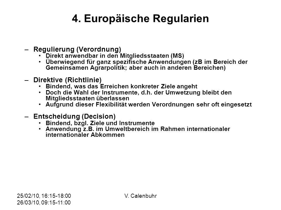 25/02/10, 16:15-18:00 26/03/10, 09:15-11:00 V. Calenbuhr 4. Europäische Regularien –Regulierung (Verordnung) Direkt anwendbar in den Mitgliedsstaaten