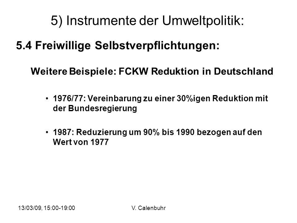 13/03/09, 15:00-19:00V. Calenbuhr 5) Instrumente der Umweltpolitik: 5.4 Freiwillige Selbstverpflichtungen: Weitere Beispiele: FCKW Reduktion in Deutsc