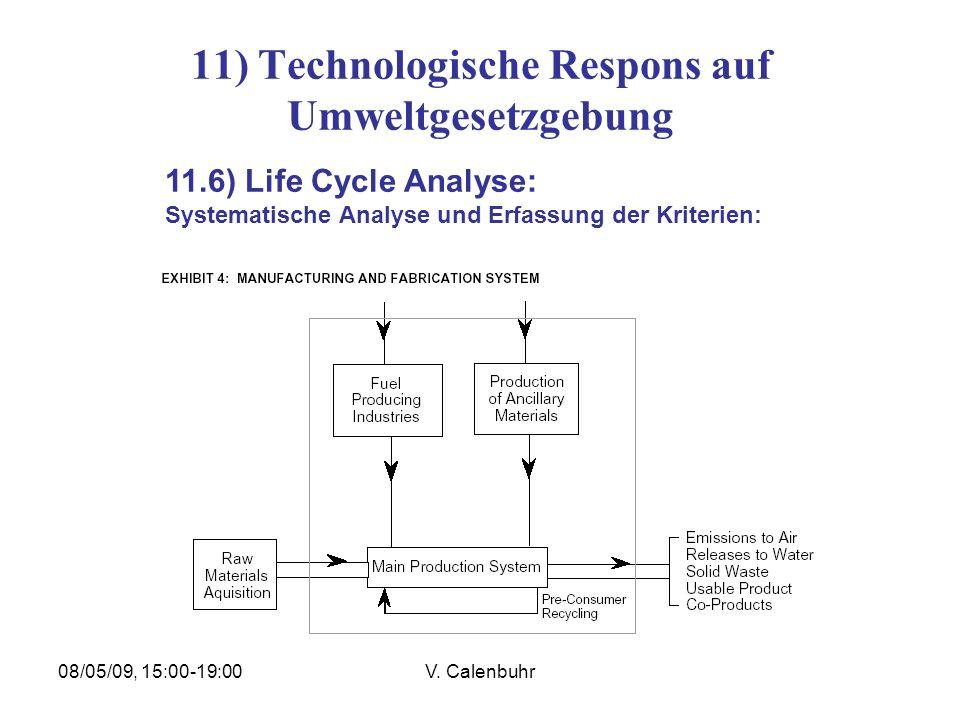 08/05/09, 15:00-19:00V. Calenbuhr 11) Technologische Respons auf Umweltgesetzgebung 11.6) Life Cycle Analyse: Systematische Analyse und Erfassung der
