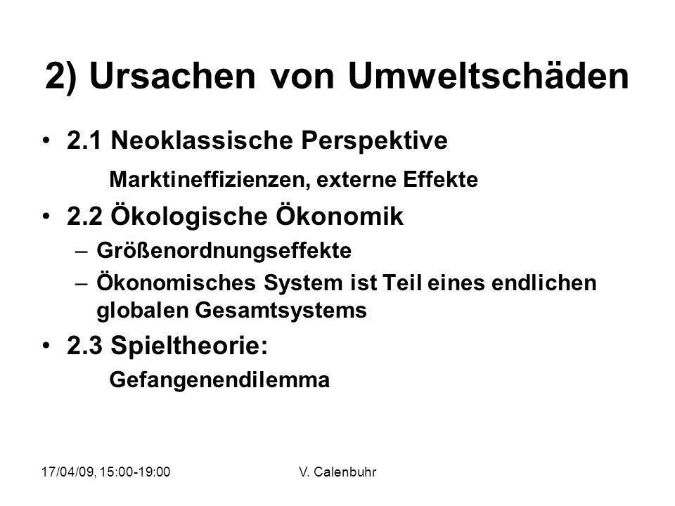 17/04/09, 15:00-19:00V. Calenbuhr 2) Ursachen von Umweltschäden 2.1 Neoklassische Perspektive Marktineffizienzen, externe Effekte 2.2 Ökologische Ökon
