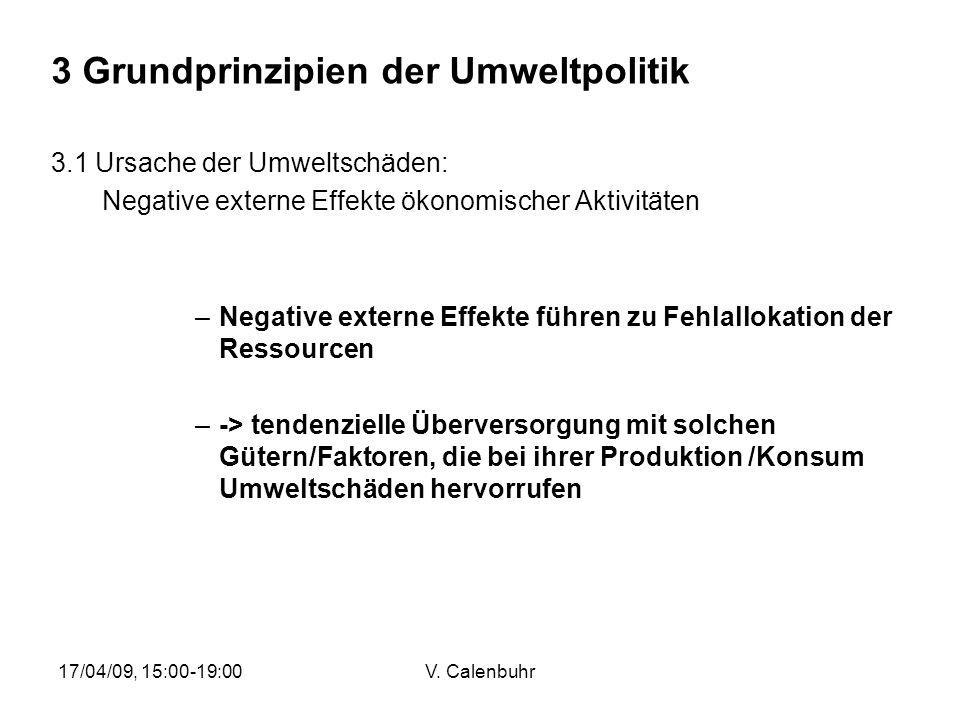 17/04/09, 15:00-19:00V. Calenbuhr 3.1 Ursache der Umweltschäden: Negative externe Effekte ökonomischer Aktivitäten –Negative externe Effekte führen zu