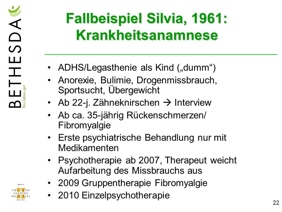 22 Fallbeispiel Silvia, 1961: Krankheitsanamnese ADHS/Legasthenie als Kind (dumm) Anorexie, Bulimie, Drogenmissbrauch, Sportsucht, Übergewicht Ab 22-j