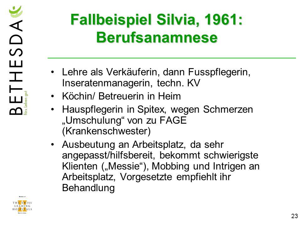 23 Fallbeispiel Silvia, 1961: Berufsanamnese Lehre als Verkäuferin, dann Fusspflegerin, Inseratenmanagerin, techn.