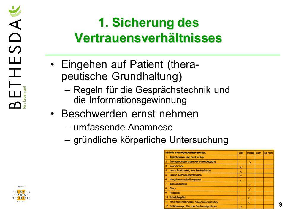 9 1. Sicherung des Vertrauensverhältnisses Eingehen auf Patient (thera- peutische Grundhaltung) –Regeln für die Gesprächstechnik und die Informationsg