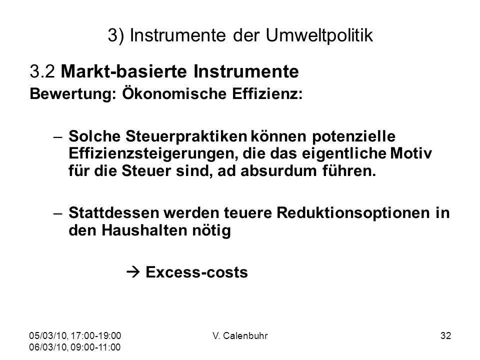 05/03/10, 17:00-19:00 06/03/10, 09:00-11:00 V. Calenbuhr32 3) Instrumente der Umweltpolitik 3.2 Markt-basierte Instrumente Bewertung: Ökonomische Effi