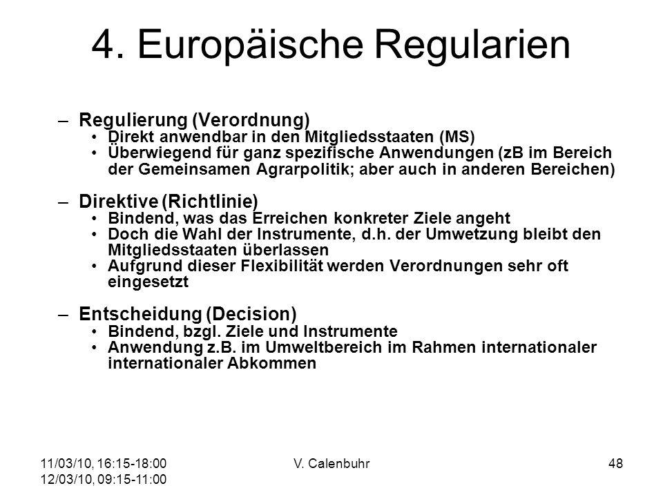 11/03/10, 16:15-18:00 12/03/10, 09:15-11:00 V. Calenbuhr48 4. Europäische Regularien –Regulierung (Verordnung) Direkt anwendbar in den Mitgliedsstaate