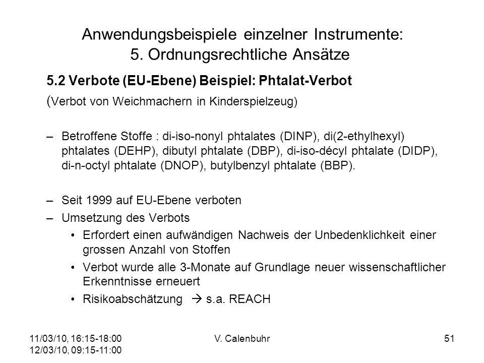 11/03/10, 16:15-18:00 12/03/10, 09:15-11:00 V. Calenbuhr51 Anwendungsbeispiele einzelner Instrumente: 5. Ordnungsrechtliche Ansätze 5.2 Verbote (EU-Eb
