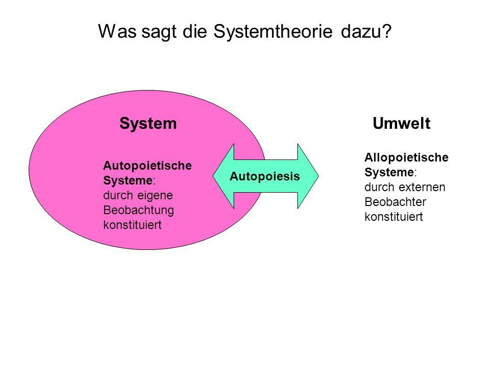 Was sagt die Systemtheorie dazu.