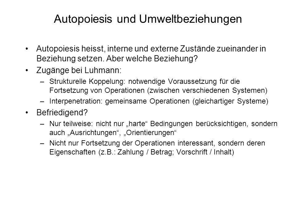 Autopoiesis und Umweltbeziehungen Autopoiesis heisst, interne und externe Zustände zueinander in Beziehung setzen.