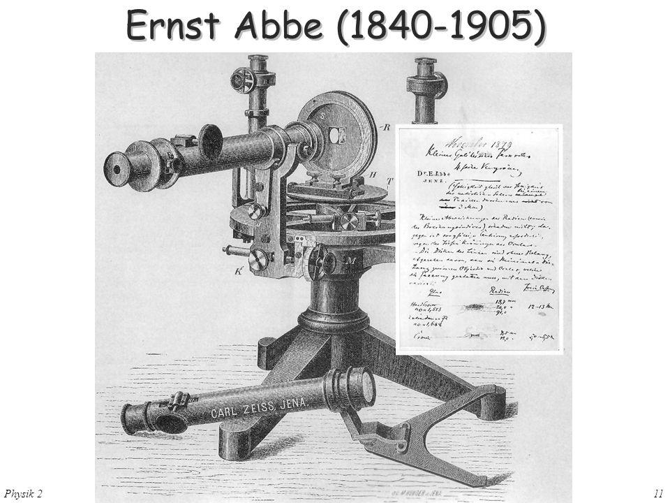 Physik 2 28. Mai 200411 Ernst Abbe (1840-1905)