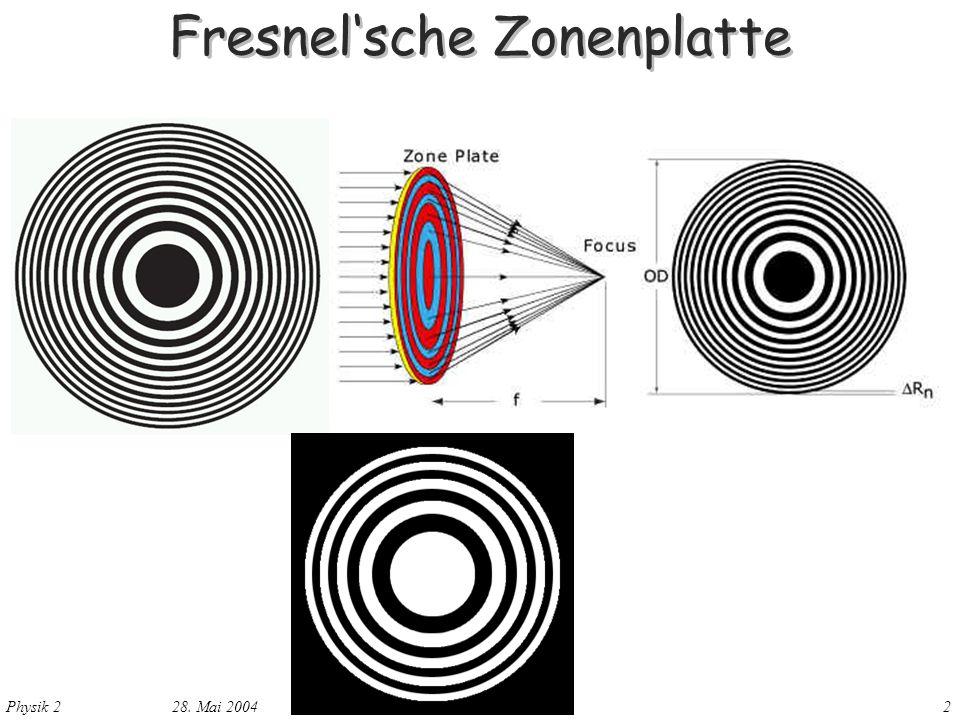 Physik 2 28. Mai 20042 Fresnelsche Zonenplatte