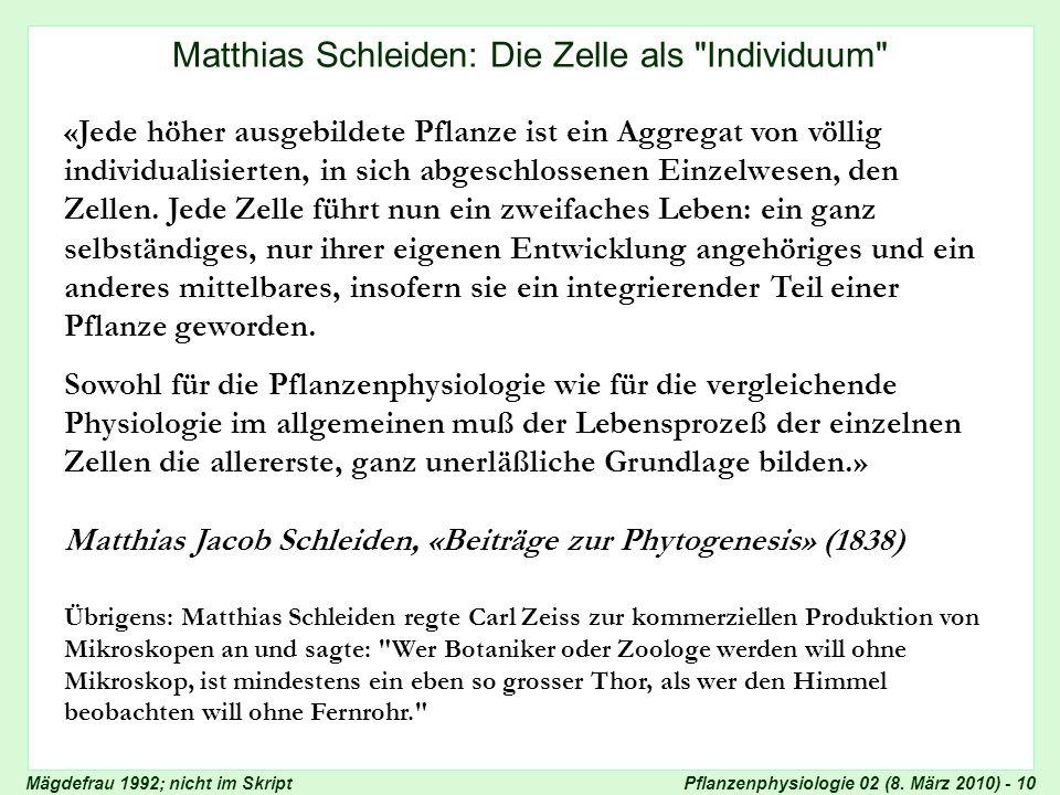 Pflanzenphysiologie 02 (8. März 2010) - 10 Zellenlehre von Schleiden Matthias Schleiden: Die Zelle als