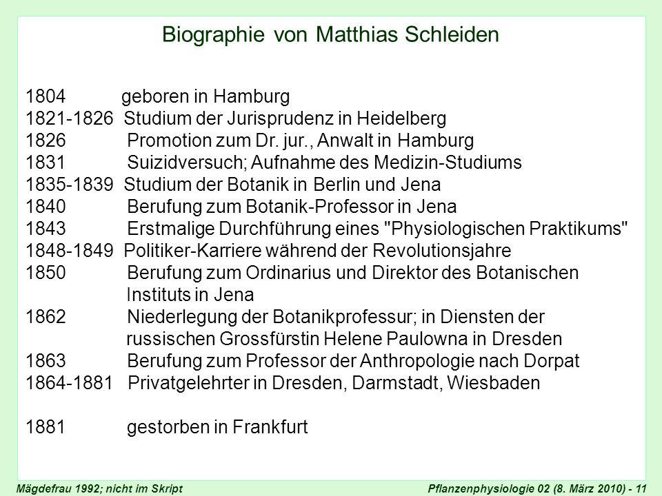 Pflanzenphysiologie 02 (8. März 2010) - 11 Biographie von Matthias Schleiden 1804 geboren in Hamburg 1821-1826 Studium der Jurisprudenz in Heidelberg
