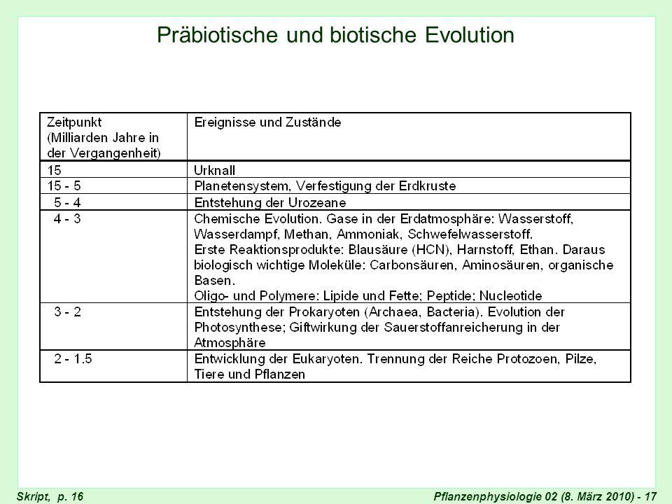 Pflanzenphysiologie 02 (8. März 2010) - 17 Präbiotische und biotische Evolution Skript, p. 16