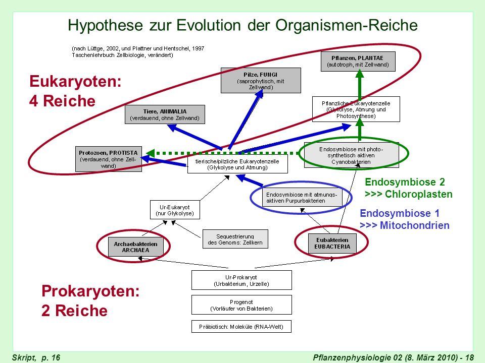 Pflanzenphysiologie 02 (8. März 2010) - 18 Hypothese zur Evolution der Organismen-Reiche Hypothesen zur Evolution der Organismen-Reiche Prokaryoten: 2