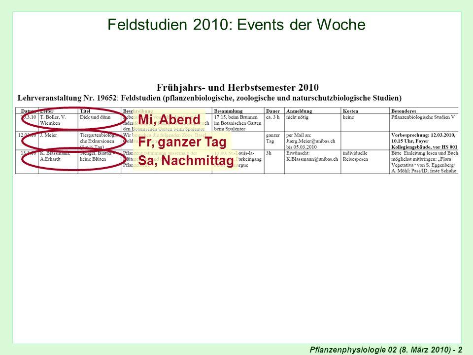Pflanzenphysiologie 02 (8. März 2010) - 2 Internet: Teaching Feldstudien 2010: Events der Woche Fr, ganzer TagSa, Nachmittag Mi, Abend