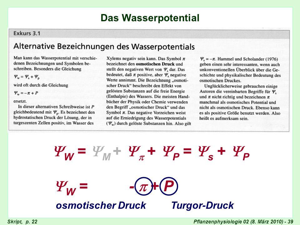 Pflanzenphysiologie 02 (8. März 2010) - 39 Wasserpotential Das Wasserpotential W = M + + P = s + P W = - + P osmotischer DruckTurgor-Druck Skript, p.