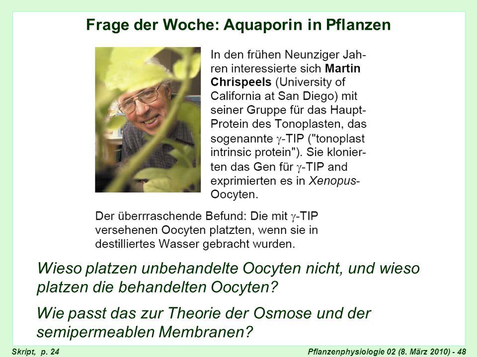 Pflanzenphysiologie 02 (8. März 2010) - 48 Frage der Woche: Aquaporin in Pflanzen Wieso platzen unbehandelte Oocyten nicht, und wieso platzen die beha