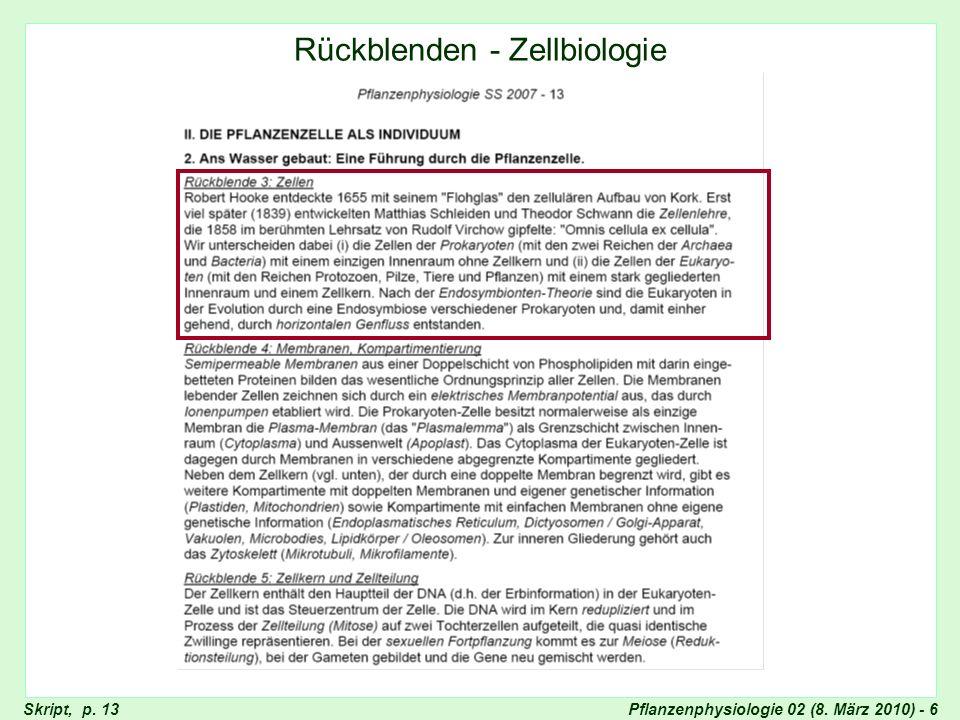Pflanzenphysiologie 02 (8. März 2010) - 6Skript, p. 13 Rückblenden - Zellbiologie