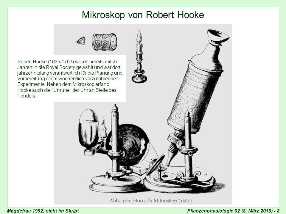 Pflanzenphysiologie 02 (8. März 2010) - 8 Mikroskop von Robert Hooke Robert Hooke (1635-1703) wurde bereits mit 27 Jahren in die Royal Society gewählt
